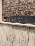 Handmade Long Pallet Sign with Felt Flowers - Welcome 9334