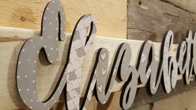 Personalised Name Sign - Patchwork & Buttons 8523