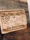 Personalised Lg Chopping Board with Ridge - Family Tree 9354