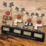 Personalised Family Reindeer Block 9357