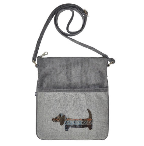 Earth Squared Applique Wool Animal Block Bag - Grey Dog 6394
