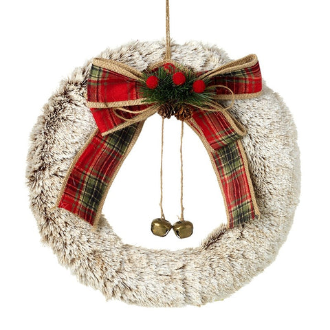Lg Furry Wreath with Bow & Bells 10531