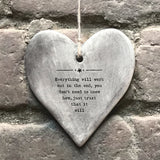 Rustic Hanging Heart - Everything Will 10723
