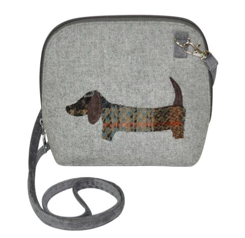 Earth Squared Applique Wool Animal Messenger Bag - Grey Dog 6398