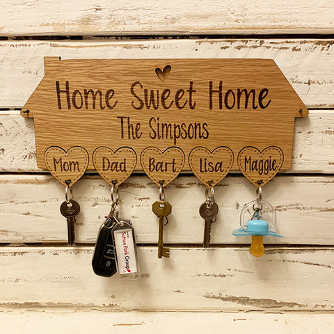 Personalised House Keyring Holder - Hearts 9558