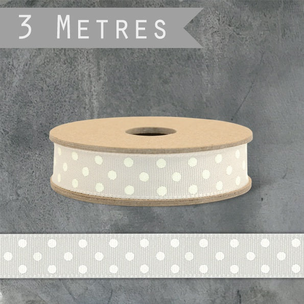 3m Ribbon - Beige Dotty 1640