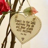 10cm Thick Heart Plaque - Commit to the Lord 9809