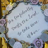 Round Layered Plq with Floral Border - She Confidently Trust the Lord 9819