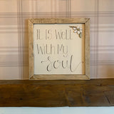 Handmade Large Framed Sign with Daisy - It is Well with my Soul 9841