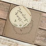 Personalised Round Daisy Plaque & Card Set 9942