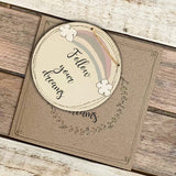 Personalised Rainbow Round Plq & Card Set 9943