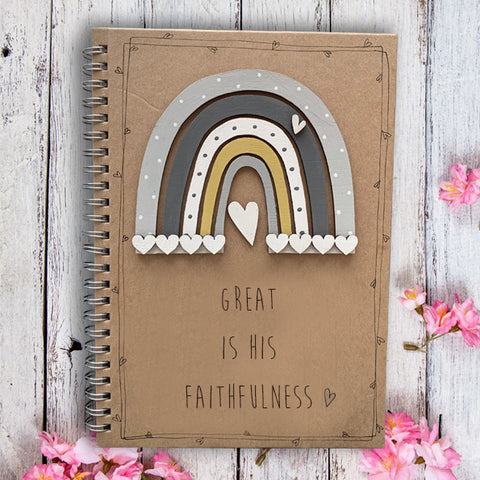 Handmade Rainbow Notebook - Great is His Faithfulness 9961