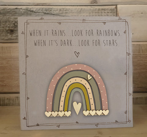 Handmade Rainbow Greetings Card - When it Rains 9976