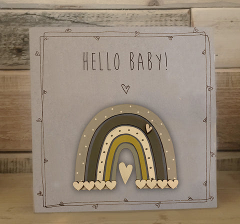 Handmade Rainbow Greetings Card - Hello Baby! 9978