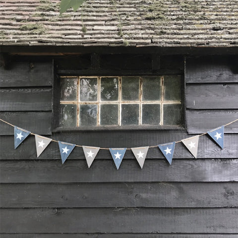 Wooden Bunting - Navy & Grey Flags 9089