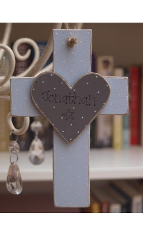Personalised Wooden Cross - Blue 8503