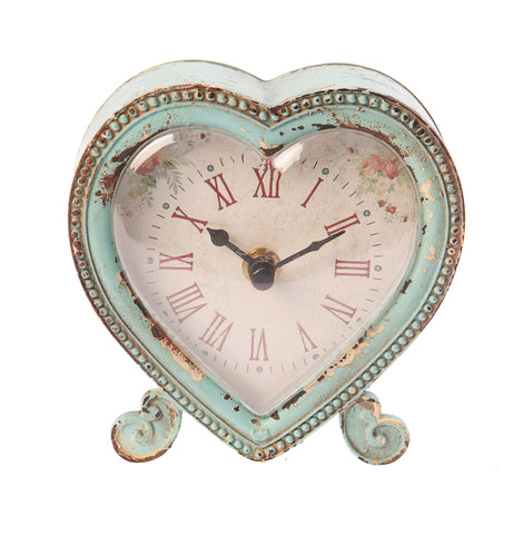 1076 boudoir heart clock -duck egg BOU013-de