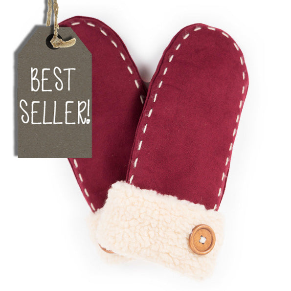 Powder Mittens - Ellen Faux Suede In Berry 8222