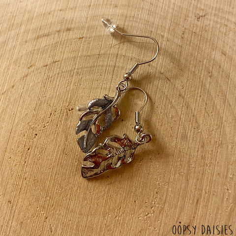 Grey Leaf Earrings 10868