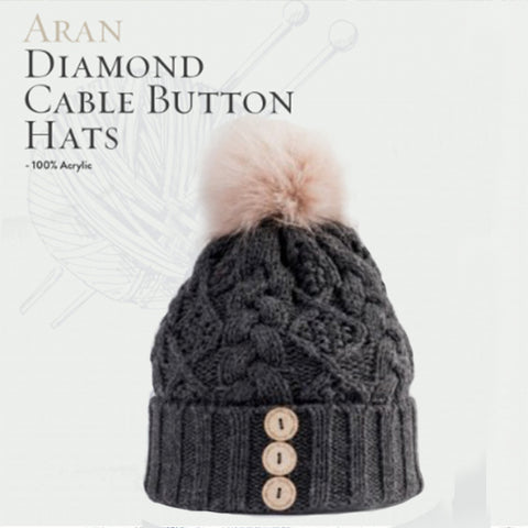 Aran Diamond Cable Button Hat - Charcoal / Blush 10760