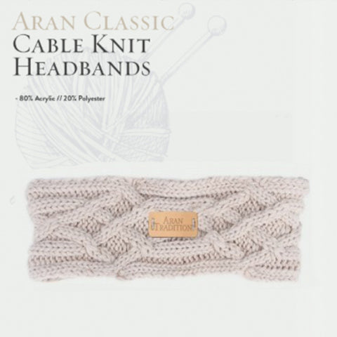 Aran Cable Knit Headband - Oatmeal 10758