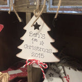 Wooden Personalised Christmas Tree Plaque - Cream 4039