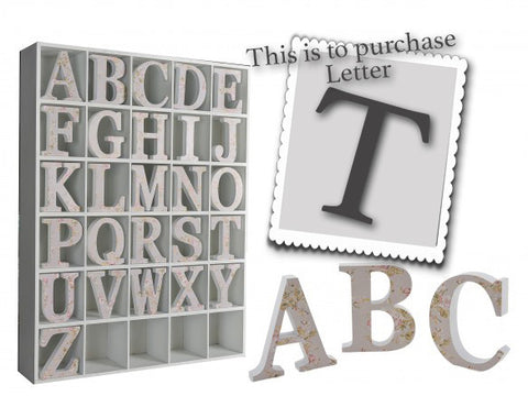 Wooden Grey Letter T 3492