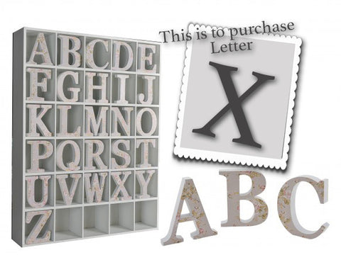 Wooden Grey Letter X 3496