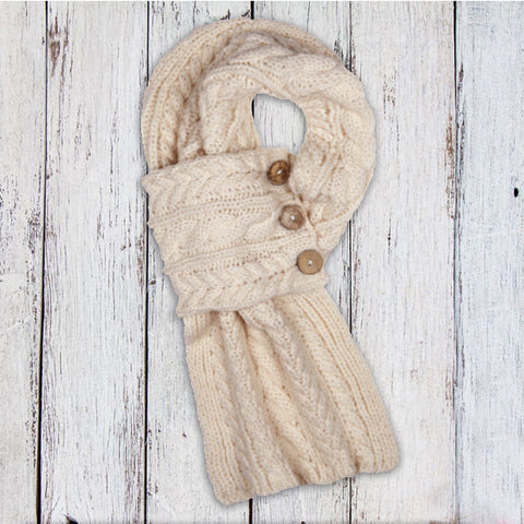Aran Cable Button Scarf - Cream 10788