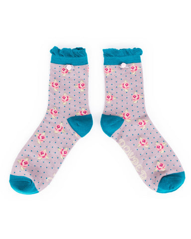 Powder Ankle Sock - Rosebud in Lilac 8135
