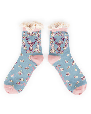 Powder Ankle Sock - Stag in Ice 8137