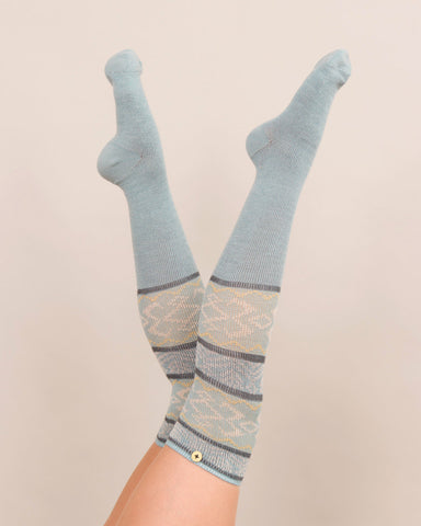 Powder Long Sock - Fair Isle in Ice 8141
