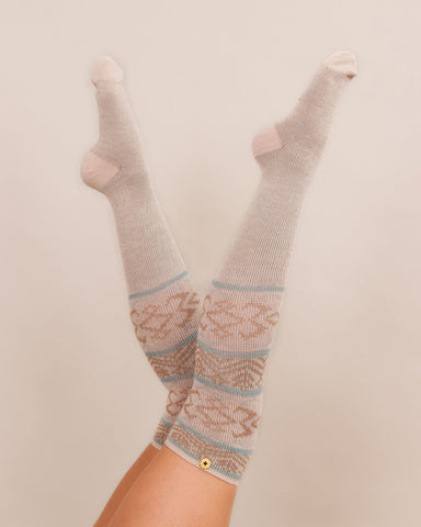 Powder Long Sock - Fair Isle in Cream 8142