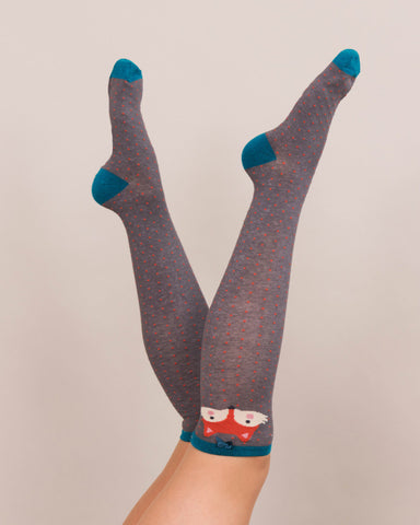 Powder Long Sock - Fox in Charcoal 8145