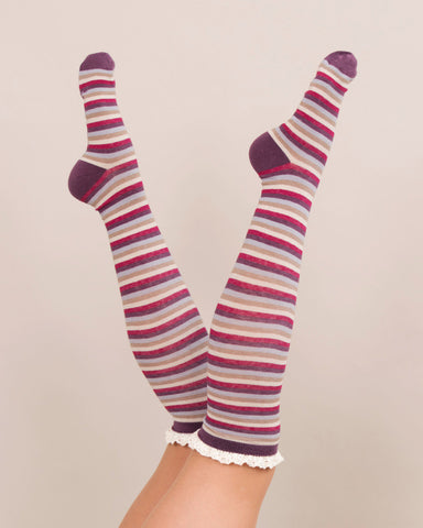 Powder Long Sock - Stripe in Damson 8146