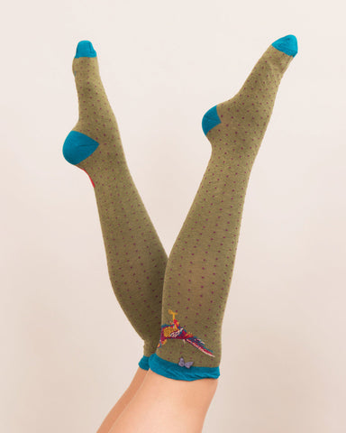 Powder Long Sock - Pheasant in Moss 8149