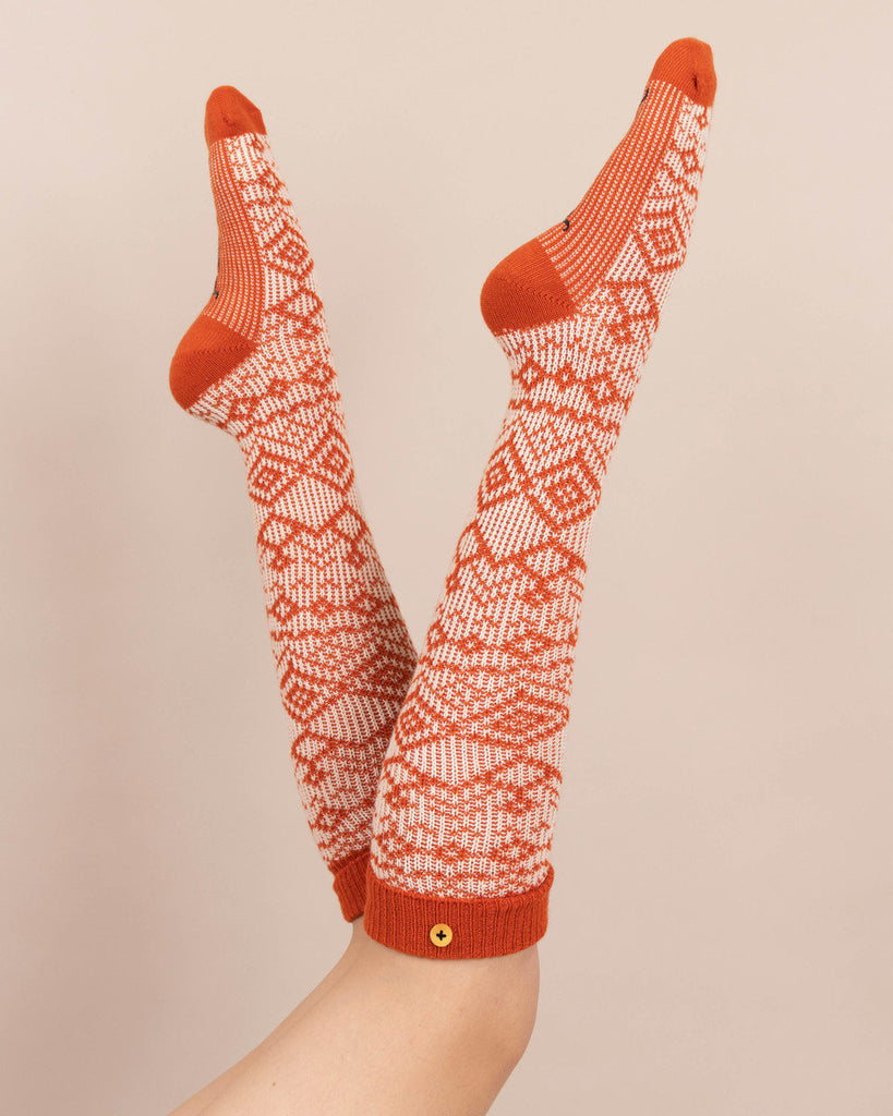 Powder Boot Socks - Fair Isle in Tangerine 9542
