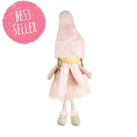 Standing Girl in Pink Fluffy Hat 6795