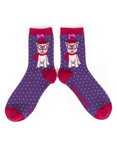 Powder Ankle Sock - Winter Westie in Purple 9183