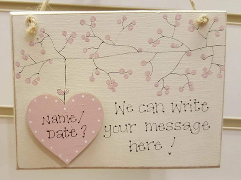 Personalised Md Sq Plq with Blossom & Heart - 5952