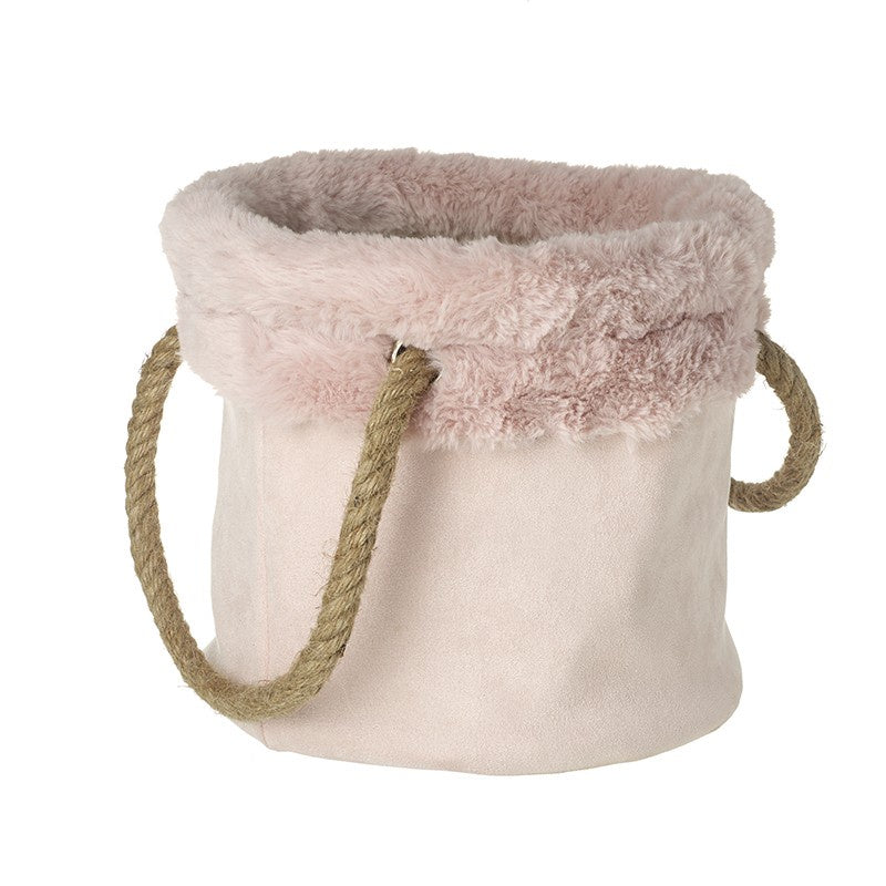 Fabric & Fur Basket with Rope Handles - Pink Lg 8176