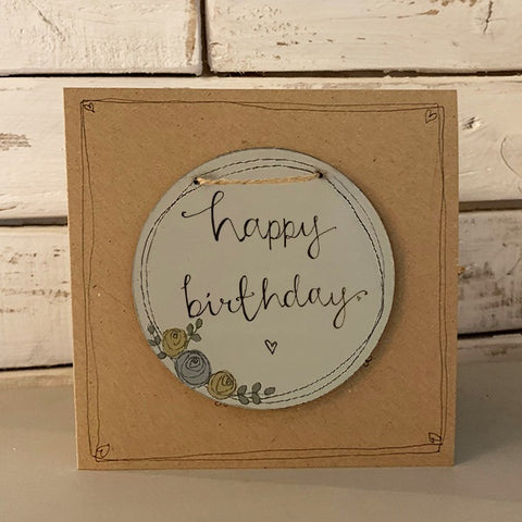 Handmade Roses Round Plq & Card Set - Happy Birthday 9955