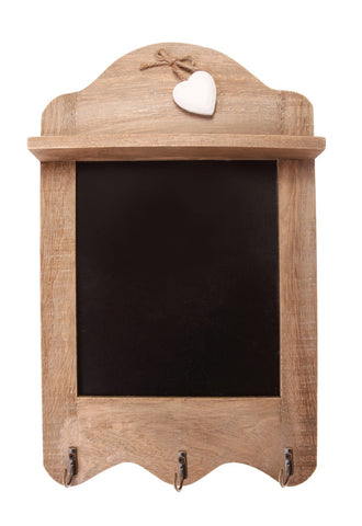 Farmhouse Scalloped Chalkboard with 3 Hooks 10390