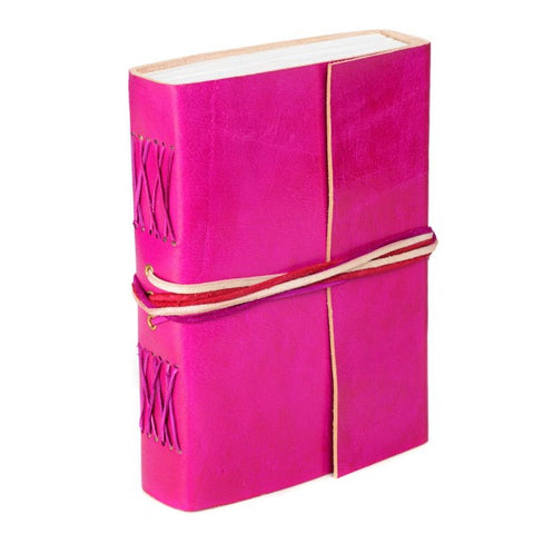 3 String Cerise Leather Journal 8256