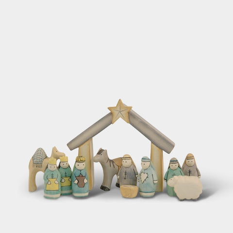 Hand Carved Nativity Boxed Set 240