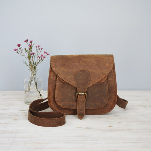Curved Dark Brown Buffalo Leather Bag 9634