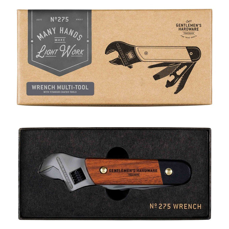 Gentleman's Hardware Wrench Multi Tool Wood Handles & Titanium Finish 8452