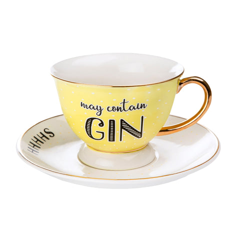 Cup & Saucer Set - May Contain Gin 8483
