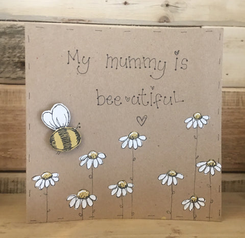 Handmade Bees & Daisies Card - Mummy is Bee-autiful 9910