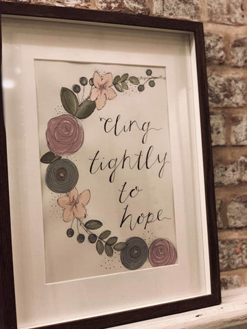 Handmade Lg Frame - Floral Wreath - Cling on to Hope 9333